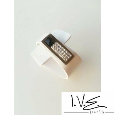 Fekete Swarovski® ékköves, kis táblás Rakéta bőr karkötő