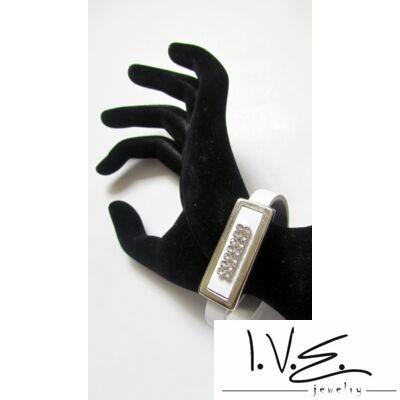 Kis táblás 2X7 Swarovski® sorköves csatos vékony bőr karpánt