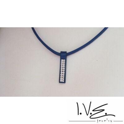 2 soros Swarovski köves rövid bőr nyaklánc