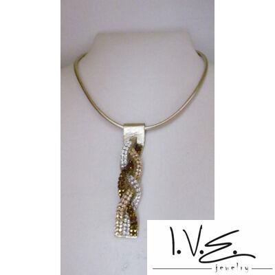 Arany fonott bőr nyaklánc Swarovski vegyes kövekkel