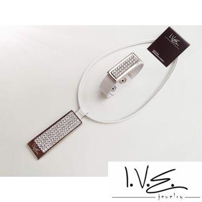 I.V.E.teli táblás, kis táblás teli Swarovski® köves patentos bőr karpántos szett