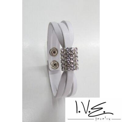 3 pántos körgyűrűs Swarovski köves bőr karkötő