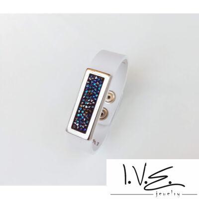 Kék Jeges kis táblás Crystal Rock Swarovski® köves fehér lakk patentos bőr karpánt