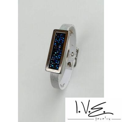 Kék Jeges kis táblás Crystal Rock Swarovski® köves hologramos fehér csatos, vékony bőr karpánt