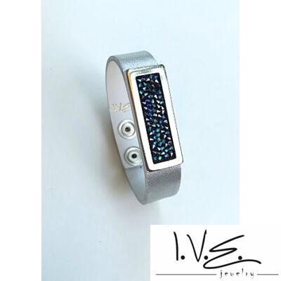 Kék Jeges kis táblás Crystal Rock Swarovski® köves patentos ezüst bőr karpánt