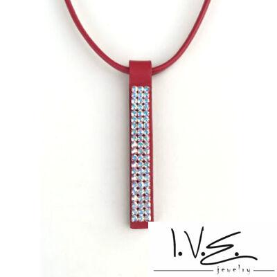 3X21 soros AB Swarovski® köves hosszú bőr nyaklánc