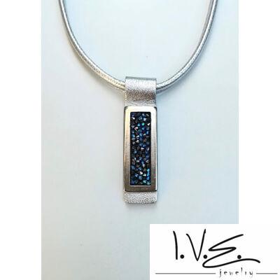 Kék Jeges kis táblás Crystal Rock Swarovski® köves ezüst bőr nyaklánc