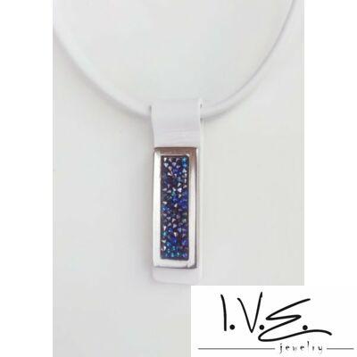 Kék Jeges kis táblás Crystal Rock Swarovski® köves lakk fehér bőr nyaklánc