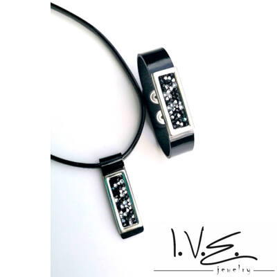 Kis táblás, fekete - fehér Crystal Rock Swarovski® köves patentos karpántos bőr szett