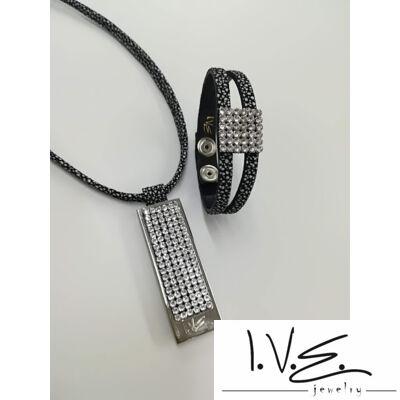 I.V.E. TELI táblás, 2 pántos, 6X6 Swarovski® köves bőr karpántos szett