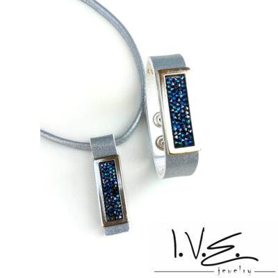 Kék Jeges kis táblás Crystal Rock Swarovski® köves hologramos kék bőr szett