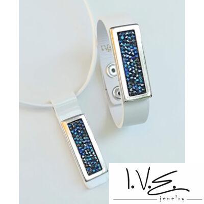 Kék Jeges kis táblás Crystal Rock Swarovski® köves lakk fehér bőr szett