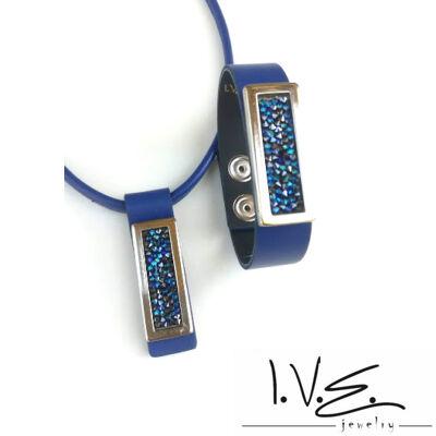 Kék Jeges kis táblás Crystal Rock Swarovski® köves királykék bőr szett