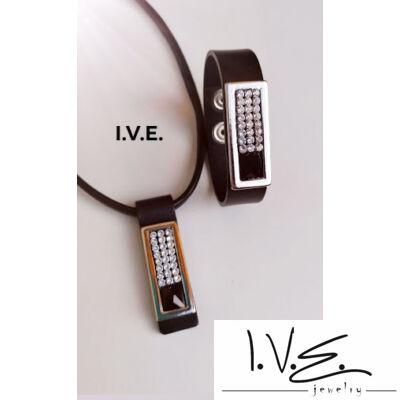 Kis táblás fekete Swarovski® ékköves patentos bőr karpántos szett