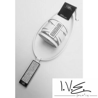 Széles, csavart pántos, kis táblás és I.V.E. teli Swarovski® köves bőr szett